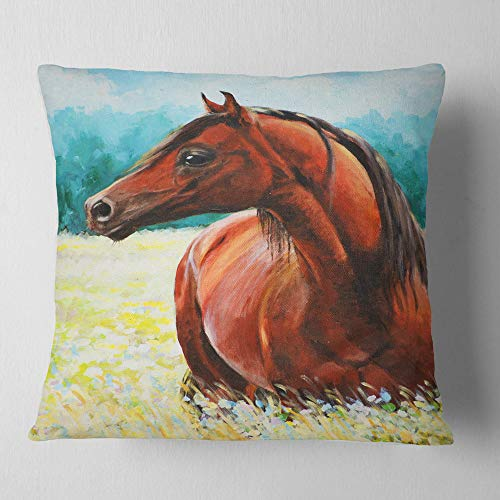 Designart CU13315-26-26 Brown Arabian Horse Painting' Abstract Throw Cushion Pillow Cover for Living Room, Sofa, 26'' x 26'' by Designart