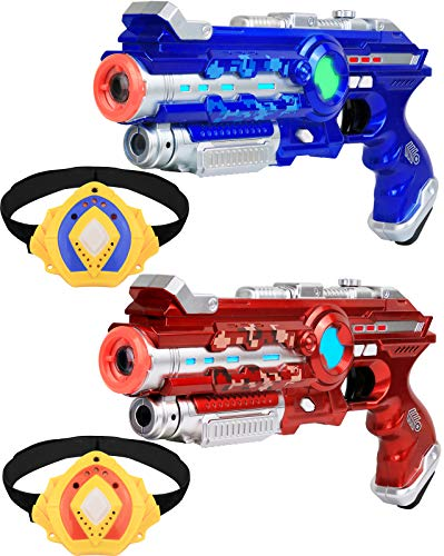 Click N' Play Infrared Laser Tag Shooting Game Set , Guns and Armband, Multi Player- Set of 2 (Play Laser)