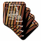 3D Rose Image of Happy Birthday Best Husband with Steam Train Ceramic Tile Coasters, Multicolor