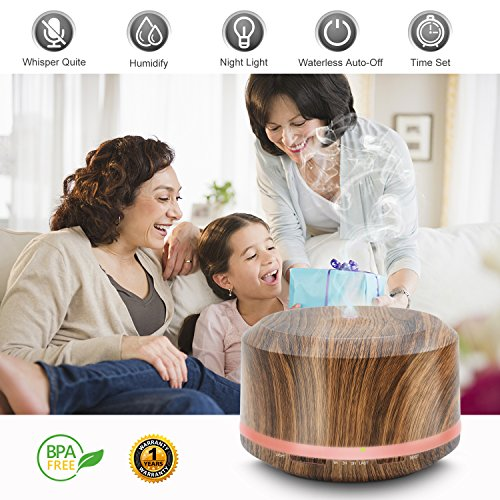 Price comparison product image Essential Oil Diffuser,  Mogomiten 450ML Wood Grain Ultrasonic Aromatherapy Diffuser Air Mist Humidifier with Waterless Auto Shut-off,  8 Color Led Lights for Bedroom Baby Women Office Yoga SPA