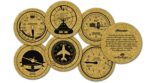 Corkology Aviation Coaster Set, Cork