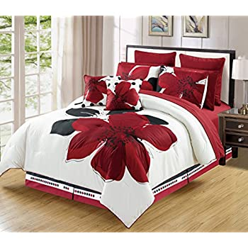 Amazoncom 12 Piece Burgundy Red Black White Floral Bed In A Bag