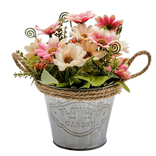 OneHippo Artificial Flowers Potted Delicate Silk Hand Made Fake Flowers with Iron Flower Pot for Home Décor
