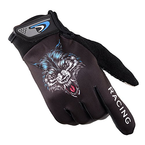 Leezo Unisex Cycling Gloves Full Finger Motorcycle Gloves Creative Wolf Gloves for Road Bike, Mountain Biking, Racing
