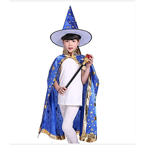 Blue Witch Costumes For Kids (Teddy Spirit Halloween Costumes Witch Wizard Cloak with Hat for Kids Boys Girls (Blue))