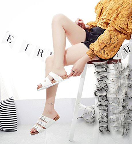 Mujer Planas Sandalias Unisexo Zapatos de la playa Verano Sandalia plataforma Peep-toe plana zapatos romano verano Blanco