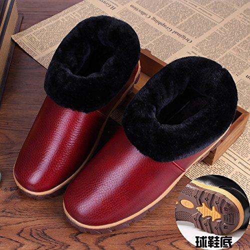Restez Au Chaud Boîte En Cuir Fond De Tendon De Boeuf Chaussures Étanches D'hiver Avec Des Pantoufles En Coton Chaussures Coton Anti-glissement 26 (37-38), Le Vin Rouge Deux Couleurs