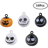 Stock Show 10Pcs/Pack Pumpkin Bells Pet Collar Charm Bells Ghost Skull Bells Home Party Halloween Decoration Pendants DIY Crafts Handmade Accessories Charm Pendants