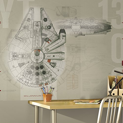 RoomMates Star Wars Millennium Falcon  Removable Wall Mural - 6' X 7.5'