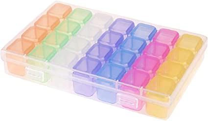 1pack 28 Cuadrículas Diamante Bordado Caja De Plástico Cajas De Almacenaje Del Arte Del Clavo Accesorios Organizador De La Joyería Caja De Almacenamiento Para Artículos Pequeños (multicolor): Amazon.es: Belleza