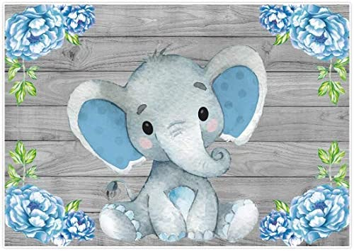 Allenjoy 7x5ft Rustic Wood Elephant Backdrop Supplies for Baby Shower Blue Floral Its a Boy Newborn Kids Birthday Party Decorations Studio Cake Smash Candy Dessert Photography Banners Props Favors