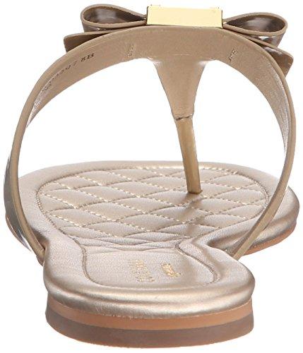 Cole Haan Donna Tali Bow Sandalo Piatto Morbido Oro Brevetto