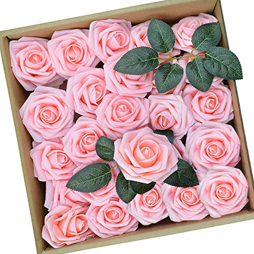 Artificial Flowers Pink Fake Flowers Centerpieces for Tables, 25 Pieces