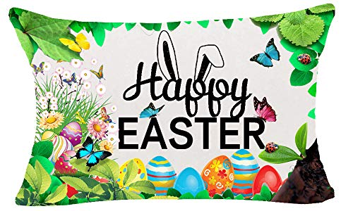 CHERRY.1 Spring Greeting Happy Easter Gift Cute Funny Bunny Rabbit Daisy Flower Butterflies Color Eggs New Home Decorative Soft Cotton Polyester Throw Cushion Cover Pillow Case Rectangle 12X20 Inches -
