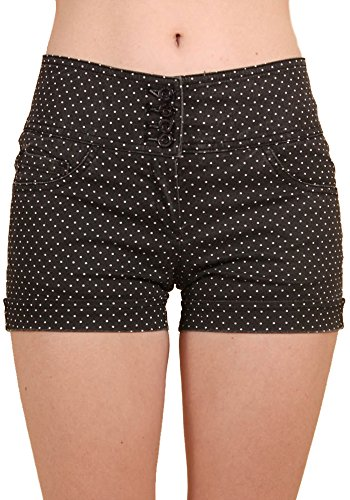 Sidecca-Womens-Mini-Polka-Dot-4-Button-Mid-Rise-3-Inseam-Roll-Cuff-Short