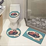 jwchijimwyc Retro pattern Nostalgic Antique Classic Legendary Vehicles Old is New Again Illustration Print 3 Piece Toilet mat set Red Yellow Teal