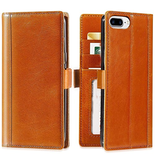 iPhone 8 Plus Case,iPhone 7 Plus Case -- iPulse Genuine Italian Full Grain Leather Handmade Flip Wallet Case For iPhone 7 Plus and 8 Plus (5.5 inches) - [Card Slots Holder] - Cognac (Holder Flop Flip Card)
