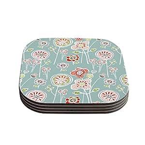 "Kess InHouse Gill Eggleston ""Folky Floral Light Jade"" Blue Teal Coasters, 4 by 4-Inch, Blue/Orange, Set of 4"