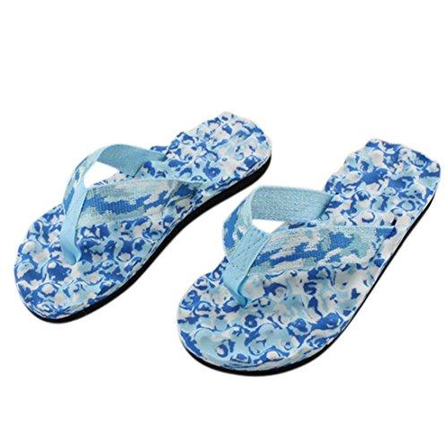Hunputa Women Summer Flip Flops Shoes Sandals Slipper Indoor Outdoor Camouflage Foot Massage Flip-flops (Blue, 8.5)