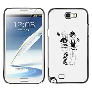 // PHONE CASE GIFT // Duro Estuche protector PC Cáscara Plástico Carcasa Funda Hard Protective Case for Samsung Note 2 N7100 / Emo Girls /