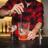 Bartender Cocktails Essential Tools Set - Professional Weighted 12'' Bar Spoon, Wooden 10'' Muddler, 2 Pourers & Ice Tongs. Recipes Pocket Book Included. Premium Complement for Shakers.