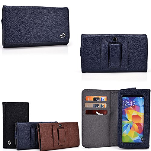 Huawei Ascend Y511 Universal Smartphone holder w/internal card slots, phone pocket with view window-Navy Blue