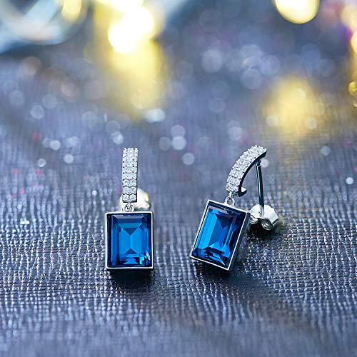 CDE 925 Sterling Silver Dangle Drop Earrings Swarovski Crystals Sapphire Fine Jewelry for Women Gift (Magical Meteorite) by CDE (Image #3)