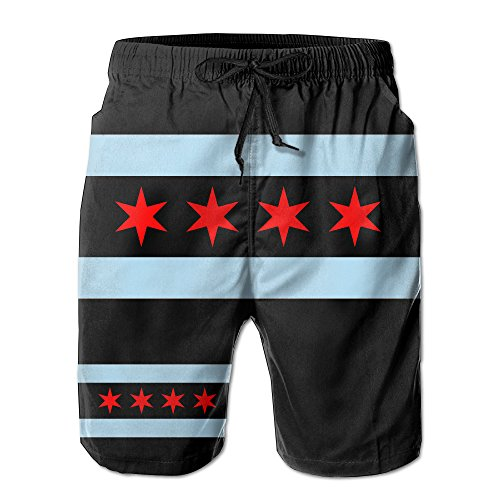 J,CORNER Mens Chicago City Flag USA Summer Cool Swim Trunks Beach Shorts Cargo Shorts - Shorts Mens Chicago Flag
