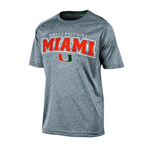 NCAA Miami Hurricanes Men's Impact Heather Jersey T-Shirt, Medium, Gray Heather