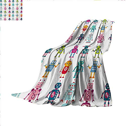 Nursery Lightweight Blanket Colorful Cartoon Style Robot Figures Futuristic Funny Mascots Friendly Androids Digital Printing Blanket 60 x 50 inch Multicolor
