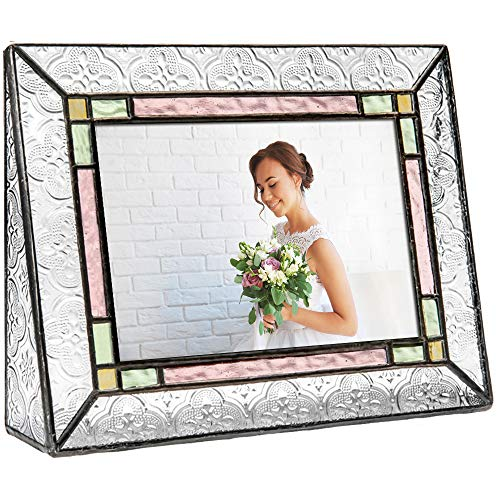 J Devlin Pic 137-46H Vintage Picture Frame Stained Glass Green Purple Amber 4x6 Horizontal Photo Colorful (137 Glasses)