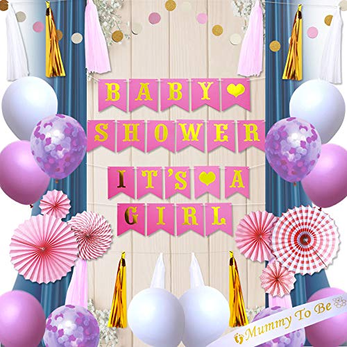 Baby Shower Decorations, It's a Girl Banner Party Supplies, Perfect Pink & Gold Party Favors with Tassels, Paper Fans & Balloons ()