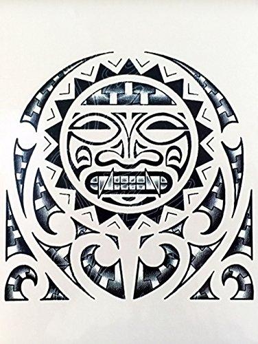 Hombres Tribal Tattoo Negro Wx114 Brazo Tatuaje Pegatinas Maorí Y