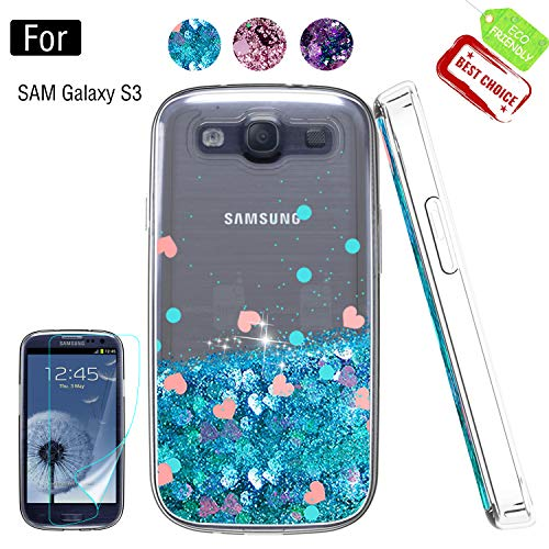 Galaxy S3 Phone Case, Galaxy S3 (S III I9300 GS3) Cases with HD Screen Protector for Girls Women, Luxury Glitter Diamond Quicksand Clear TPU Protective Phone Case for Samsung Galaxy S3 Blue (Samsung Galaxy S3 Cases Clear)