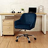 Modern Office Chair Task Desk Adjustable Swivel Height W/Wheels Velvet Blue + FREE E-Book