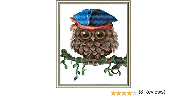 Owl 4, Counted Stamped or Counted Awesocrafts Owl Scarf Cute Christmas Winter Easy Patterns Cross Stitching Embroidery Kit Supplies Christmas Gifts Cross Stitch Kits