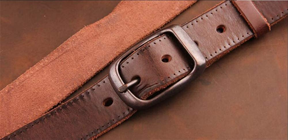 Retro Mens Brown Letaher Belt Leisure Comfortable Genuine Leather Belt Cowhide, Hand Made by Martino