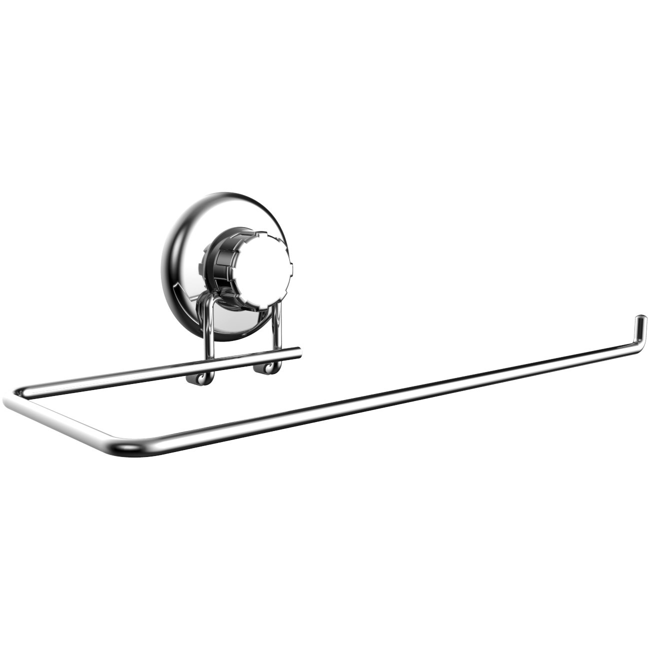 HASKO Accessories - Suction Cup Paper Towel Holder- Chrome Plated Stainless Steel Bar for Bathroom & Kitchen (Chrome)