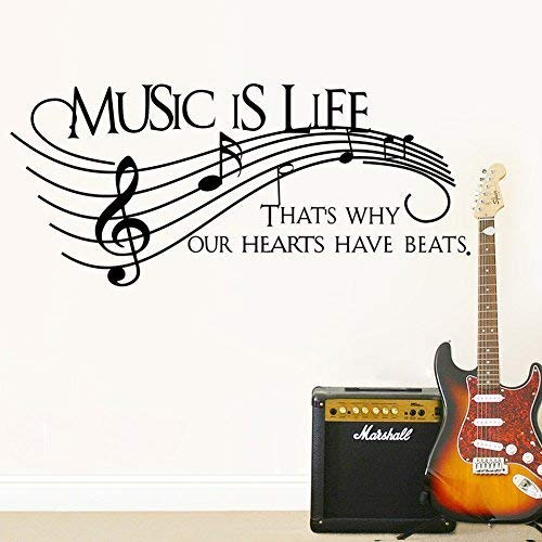 Homefind Musical Notes Walls Decals - Music is Life That's Why Our Hearts Have Beats - Stickers for Kids Bedroom Music Room Dance Room Vinyl Art Décor House Decoration (Black 51.1'' w x 22'' h) by Homefind (Image #2)