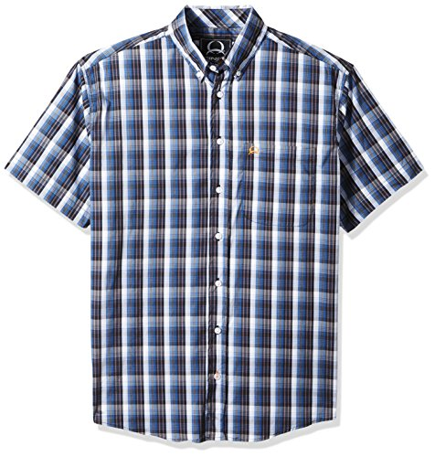 Cinch Men's Arenaflex Short Sleeve Button Plaid Shirt, Black, (Blk Plaid Button)