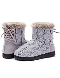 ULTRAIDEAS Women's Yarn Cable Knit Bootie Slippers Memory Foam Indoor & Outdoor Shoes w/Adjustable Suede Lace