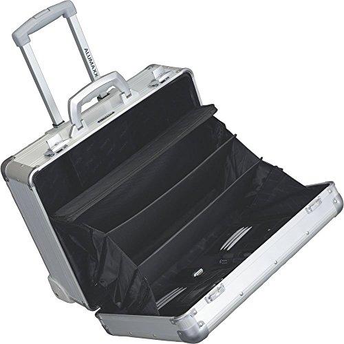 Hochwertiger Alumaxx Pilotenkoffer Aluminium Alu Silber Matt, Reise-Trolley Hartschalen Koffer mit Laptopfach + sicheres Schloss-System mit Zweifachverschließung und Öffnungsautomatik