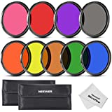 Neewer 58MM Complete Full Color Lens Filter Set (9pcs) for Camera Lens with 58MM Filter Thread - Includes: Red, Orange, Blue, Yellow, Green, Brown, Purple, Pink and Gray ND Filters + Filter Carry Pounch + Microfiber Lens Cleaning Cloth