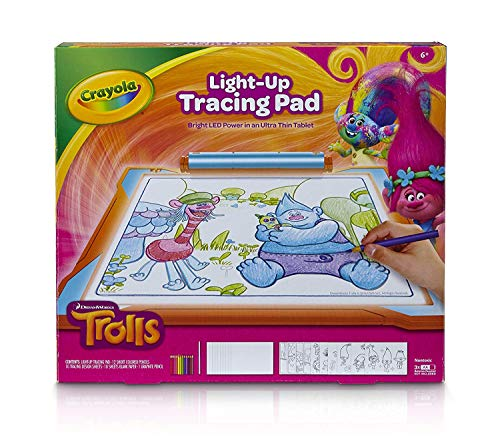 (Crayola Trolls Light-Up Tracing Pad, Coloring Board for Kids, Gift, Toys for Girls, Ages 6, 7, 8,)