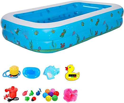 Piscinas Hinchables, Piscina Familiar Rectangular, Color Azul, PVC ...