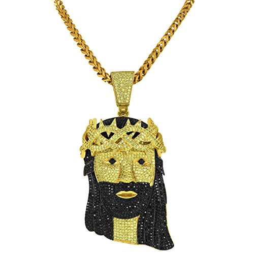14k Gold Finish Jesus Pendant Full Iced Out Black Yellow Lab Diamonds Franco Necklace by Master Of Bling