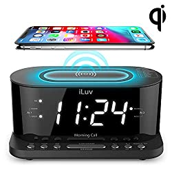iLuv 1.2 Jumbo White LED Display Dual alarm Clock with Qi Certified Wireless Charging, FM Radio, 10 Preset, Sleep Timer, Snooze Button, Dimmer, USB Charging Port and AC Power