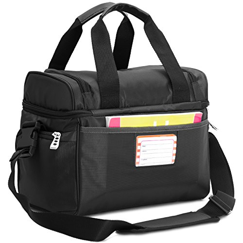 Mojecto Cooler Bag - 12x10x6.5 Inches.Two Insulated Compartment, Heavy Duty Polyester, High Density Insulation, 2 Heat Sealed Zip-Out Peva Liner, Many Pocket, Strong Double Zipper, Soft Lunch Box