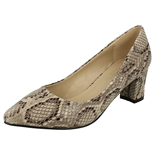 Ladies Spot On Pointed Toe Court Shoes Snake Print/Natural (Beige)