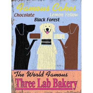 The World Famous Three Lab Bakery by Artist Ken Bailey 25''x34'' Planked Wood Sign Wall Decor Art by ArteHouse